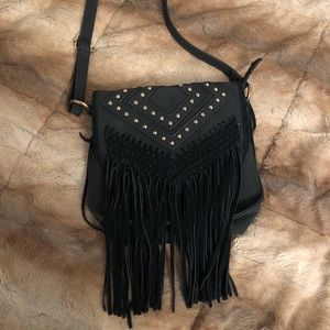 Black studded and fringe crossbody bag